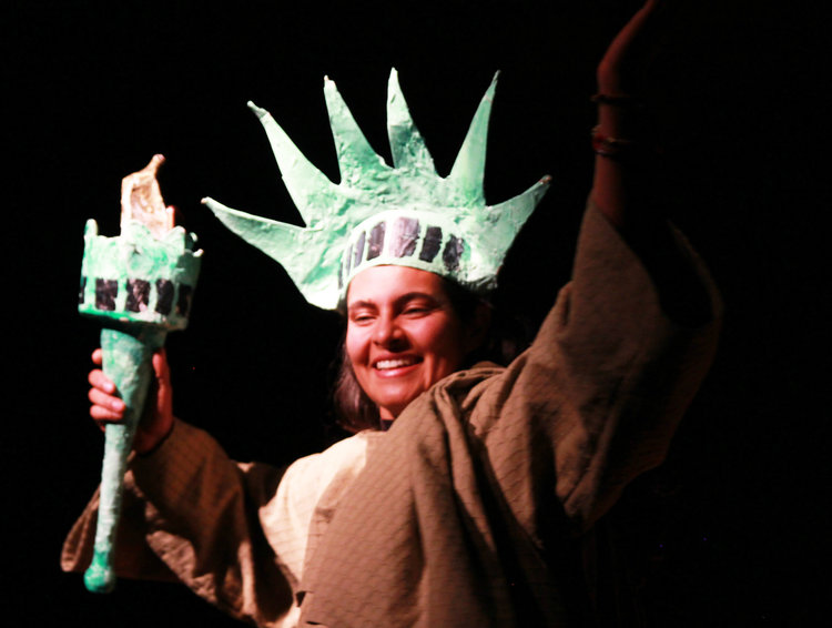 Zahira Diaz wearing lady liberty costume