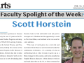 Partial News Clipping of Faculty Spotlight On Scott Horstein from Sonoma State Star